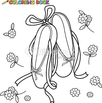 Ballet Zapatos Libro Para Colorear Página Arte vectorial | Thinkstock