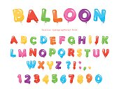 Balloon colorful font. Festive glossy ABC letters and numbers. For birthday, baby shower celebration. Vector EPS10.