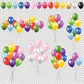 Balloon Set Gradient Mesh, Vector Illustration