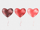 Balloons Heart isolated on transparent background. rosted party balloons for event design. Balloons isolated in the air. Party decorations for birthday, anniversary, celebration