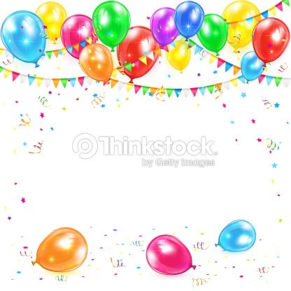 ballons und konfetti mit banner vektorgrafik thinkstock. Black Bedroom Furniture Sets. Home Design Ideas