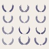 Ballpoint pen awards wreaths for archievement design. Vector illustration