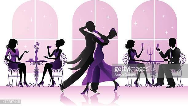 Ballroom dancers in the restaurant