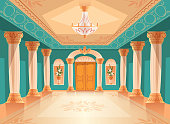 Ballroom or palace reception hall vector illustration of luxury museum or chamber room. Cartoon royal blue interior background with chandelier, vases and decoration on ceiling, walls and columns