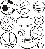 vector outlines of balls