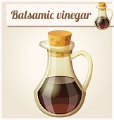 Balsamic vinegar. Detailed Vector Icon. Series of food and drink and ingredients for cooking.