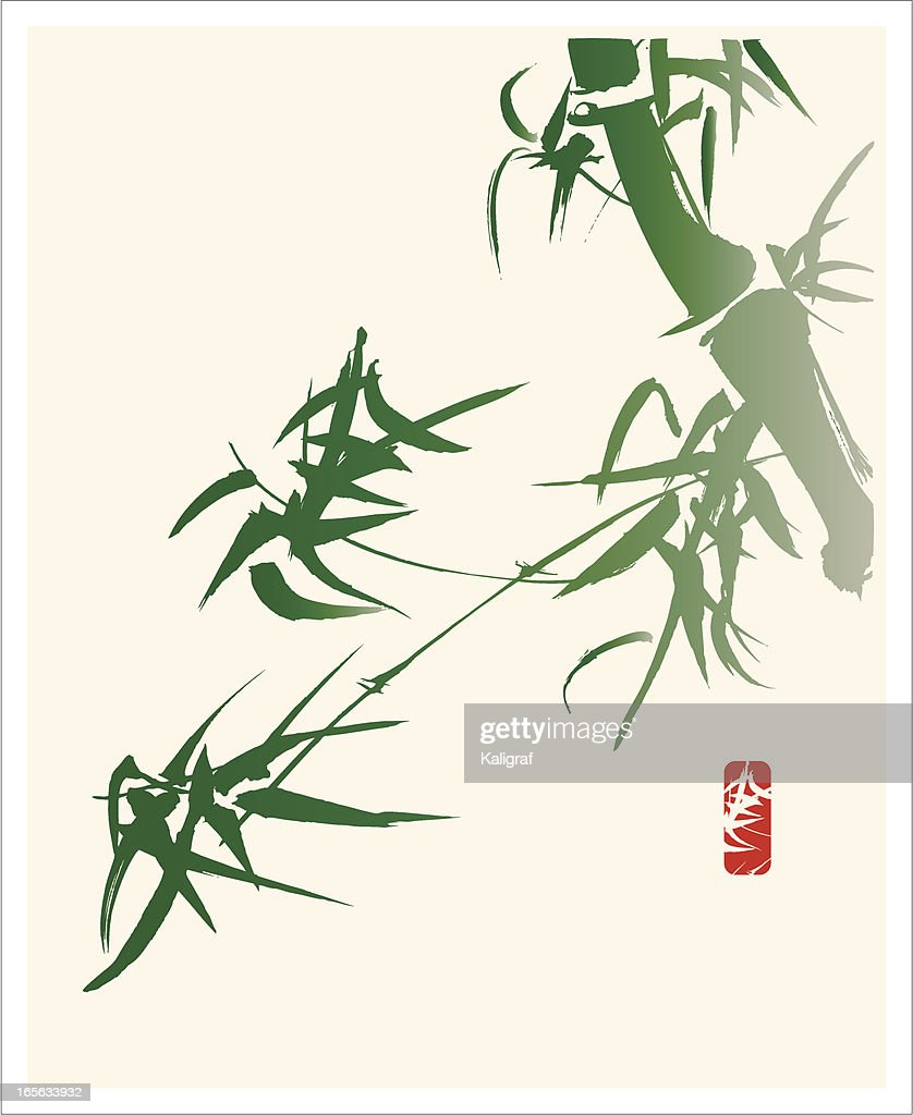 Bamboo In The Wind Calligraphy And Painting Vector Art