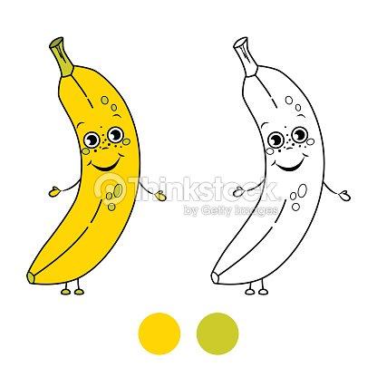 Plátano Libro Para Colorear Página Ilustración De Vectores De ...