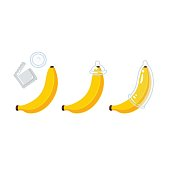 Putting condom on banana illustration. Funny educational infographic in cartoon style.