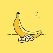 Banana isolated in yellow background with slices in the side. Flat vector illustration.