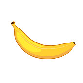 Banana. Isolated object on a white background. Cartoon icon.