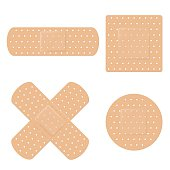 Vector illustration of long, round, square and crossed adhesive band aid strips
