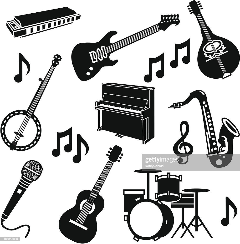 Band Instruments Vector Art | Getty Images White Drum Set Silhouette