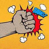 Bang. Human fist in pop art style. Design element in vector.