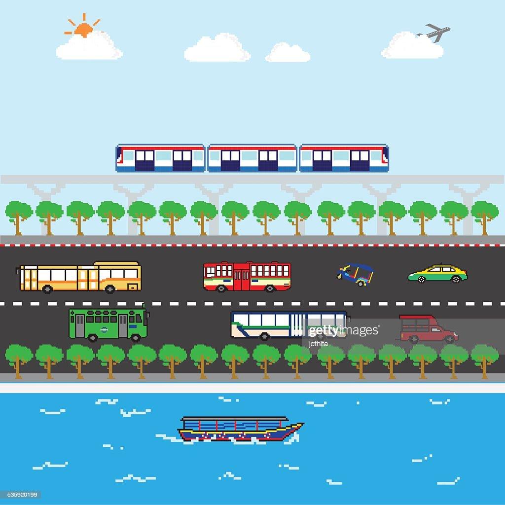 Bangkok ideal public trasportation pixels art : Vector Art
