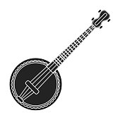 Banjo icon in black style isolated on white background. Musical instruments symbol vector illustration