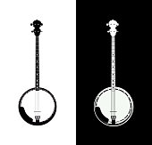 Silhouette of Banjo - folk music instrument in black and white colors, Grayscale Vector Illustration isolated on white and black background