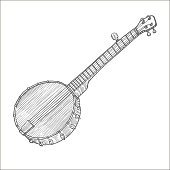 Banjo. Musical Instrument in Hand Drawn Style for Surface Design Fliers Prints Cards Banners. Vector Illustration