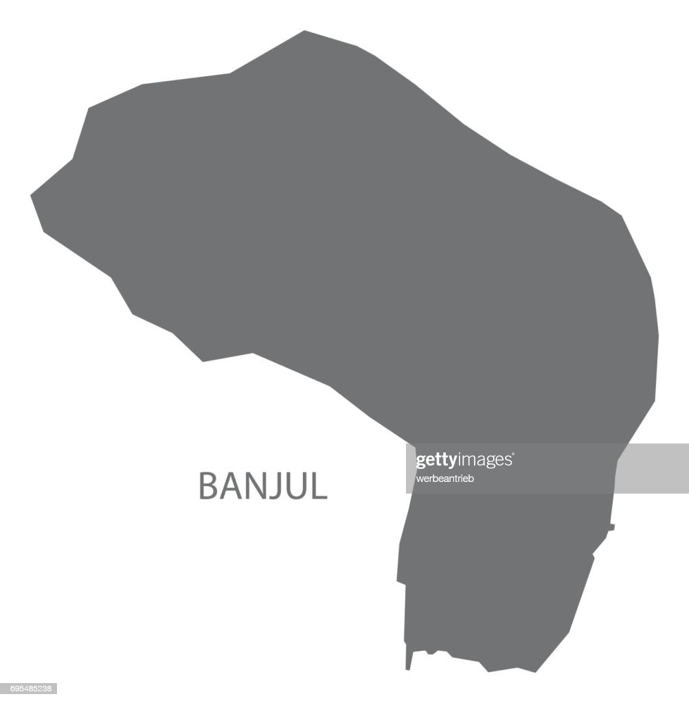 Banjul Map Grey Illustration Silhouette Vector Art Thinkstock