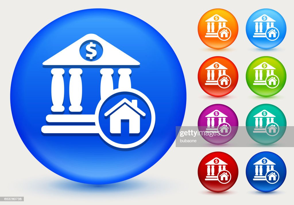 銀行と光沢のあるカラー サークル ボタン上のホーム アイコン : ベクトルアート