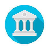 Bank building circle icon with long shadow. Flat design style. Bank simple silhouette. Modern, minimalist, round icon in stylish colors. Web site page and mobile app design vector element.