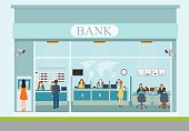 Bank building exterior and  bank interior, counter desk, cashier, consulting, presenting, currency exchange, financial services ,Banking concept vector illustration.