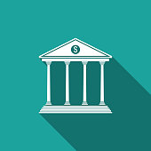 Bank building icon isolated with long shadow. Flat design. Vector Illustration