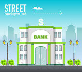 bank building in city space with road on flat style background concept. Vector illustration