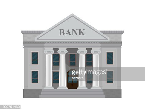 Bank building isolated on white background. Vector illustration. Flat style. : Vector Art