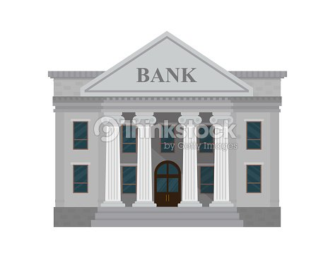 Bank building isolated on white background. Vector illustration. Flat style. : stock vector