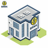 Vector bank building. Isometric icon of a building