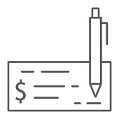 Bank check thin line icon, finance and banking, cheque sign, vector graphics, a linear pattern on a white background, eps 10.