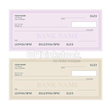 Bankscheck Mit Modernem Design Flache Darstellung Scheckbuch Auf ...