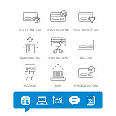 Bank credit card icons. Banking, blocked and expired debit card linear signs. Money transactions and shopping icons. Report file, Graph chart and Chat speech bubble signs. Vector