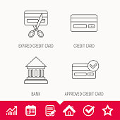 Bank credit card, approved card icons. Expired credit card linear sign. Edit document, Calendar and Graph chart signs. Star, Check and House web icons. Vector