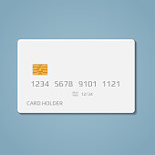 A realistic bank credit or debit card with a chip to pay for purchases in the store and the Internet. Blank white card with volumetric numbers and letters, on a blue background.