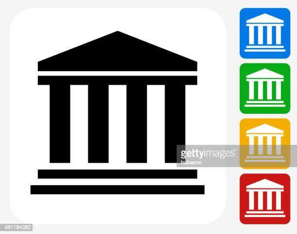 Bank Icon Flat Graphic Design