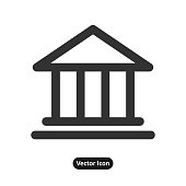 Bank illustration in white background icon