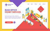 Bank Office Interior Landing Web Page Template Isometric View Client Service Concept Include of Queue and Staff. Vector illustration