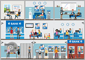 Bank offices set. Employees and visitors. Credit and savongs service.