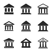 Bank vector icons. Simple illustration set of 9 bank elements, editable icons, can be used in logo, UI and web design