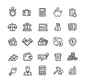 Banking and Accounting Icon Black Thin Line Set for Commerce and Business. Vector illustration
