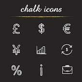 Banking and finance chalk icons set. Vector. Great Britain pound, US dollar, euro and yen signs, growth chart, money exchange, percentage and briefcase