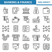 Professional, pixel perfect icons depicting various banking and finance concepts.