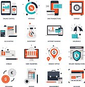 Abstract vector collection of flat banking and money icons.