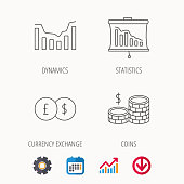 Banking, cash money and statistics icons. Dynamics, currency exchange linear signs. Calendar, Graph chart and Cogwheel signs. Download colored web icon. Vector