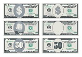 USA banking currency, cash symbol 50 dollars bill. Money set, paper banknotes fifty dollars. Vector illustration in simple, flat style in six variants. Isolated on white background. Horizontal.