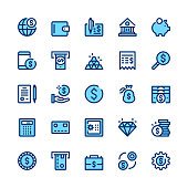 Banking, money, finance line icons set. Modern graphic design concepts, simple symbols, linear stroke web elements, pictograms collection. Minimal thin line design. Premium quality. Pixel perfect. Vec