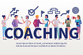 Banner coaching. Businesswoman coach leader presenting business project. Discussing corporate plan. Company training. Vector illustration flat design. Meeting in boardroom.