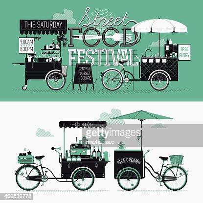 Banner design elements on Street food festival event : Vector Art